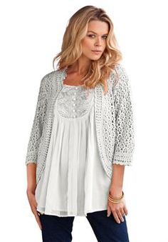 3/4 Sleeve Crochet Cardigan By Denim 24/7 | Plus Size Cardigans | Roamans