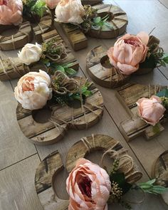 Rustic table numbers with faux flowers and faux wood paper complete with Peonies Rustic Table Numbers, Faux Flowers, Peonies, Rustic Wedding, Table Decorations, Wood, Paper, Home Decor, Fake Flowers