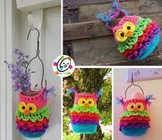 Hanging Owl Crochet Container