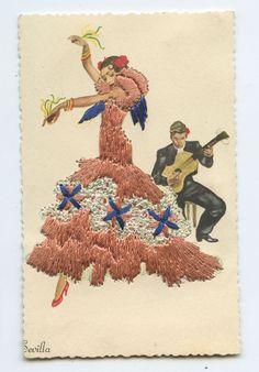 Embroidered Silk fabrics Spain Flamenco DANCE Ethnic Dress 1960s postcard c015