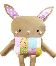 PDF Sewing Pattern Toy Bunny Patchwork Softie by GandGPatterns, $10.00