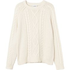 Monki Nadja knitted top (1.295 UYU) ❤ liked on Polyvore featuring tops, sweaters, shirts, jumper, long sleeves, wondrous white, white shirt, white cable sweater, shirt sweater and white long sleeve shirt