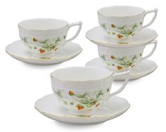 Gracie China Strawberry Field 8-Ounce Porcelain Cup and Saucer, Set of 4