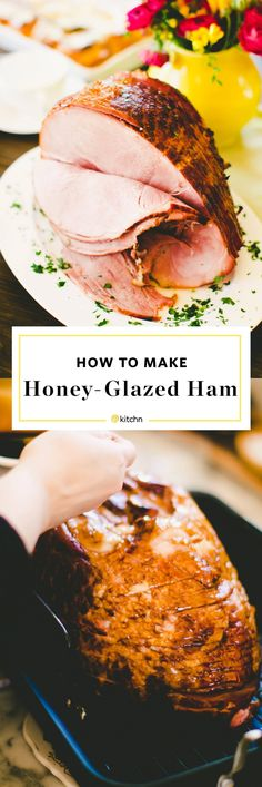 How to Make Thanksgiving, Christmas, Easter Honey Glazed Ham in the oven, a Step-by-Step Recipe. Hosting holiday dinners or brunches is EASY! Baking like this keeps it moist and tender, Perfect to make for dinner on a weeknight too. SO EASY and SO DELICIOUS with a homemade brown sugar glaze dripping into the cracks of the spiral cut bone in ham.