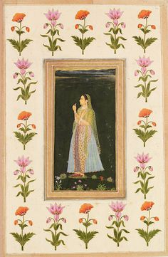 A Muslim lady holding a flower, watercolour and gold on paper, Mughal, late 17th century. © Victoria and Albert Museum