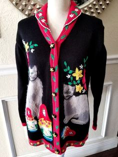 96aa3dc9e70 STORYBOOK KNITS Size M Black Red Ornament Christmas Holiday Sweater Vest |  eBay