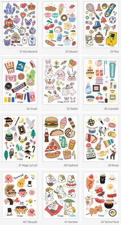 Planner Stickers, Journal Stickers, Scrapbook Stickers, Printable Stickers, Kawaii Stickers, Cool Stickers, Kawaii Drawings, Cute Drawings, Bullet Journal Gifts