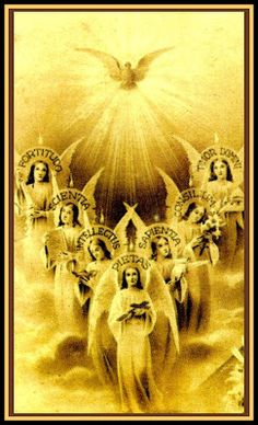 Seven Gifts of the Holy Ghost Holy Cards For Your Inspiration: April 2008 Catholic Prayers, Catholic Art, Catholic Saints, Roman Catholic, Religious Art, Novena Prayers, Rose Croix, Vintage Holy Cards, Saint Esprit