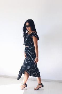 Σετ Retro Black Polka Dot τοπ+φούστα. - BLUSHGREECE Co Ord, High Low, Polka Dots, Retro, Black, Dresses, Fashion, Vestidos, Moda