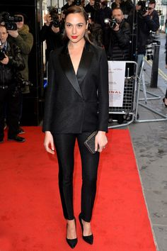 Gal Gadot Pantsuit - Gal Gadot looked very polished in this black pantsuit at the UK premiere of 'Criminal.'