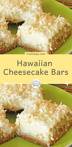 Drop everything and make these Hawaiian Cheesecake Bars as soon as you can, but be warned, you will have to make sure there are people around to share with or you WILL eat the entire pan. Coconut Recipes, Baking Recipes, Cookie Recipes, Bar Recipes, Recipies, Coconut Desserts, Lemon Coconut, Carrot Recipes, Tofu Recipes