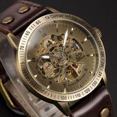 Vintage Bronze Skeleton Steampunk Watch