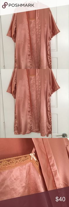 NWOT silk robe & nighty dress NWOT set of robe and nighty dress, peach color, 100% polyester,size M-L. ( The robe will fit both M and L, the dress will fit bra up to 36B but not bigger!) Length a little bit above the knee. Robe is loose fit, 3/4 sleeve, with belt around. I bought it for myself in Asia, without trying it on and realized I got the wrong size. Its very beautiful and comfy for early morning coffee ☕️ Intimates & Sleepwear Robes