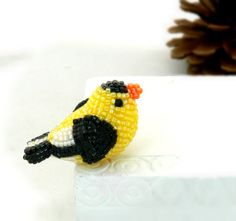 Goldfinch Bird Miniature Figurine Beaded Animal by MeredithDada, $35.00