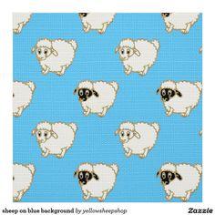 sheep on blue background fabric