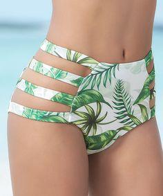 7241b554ec Love this Green Rain Forest Strappy High-Waist Bikini Bottoms by Mapalé by  Espiral on