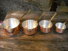 Vintage French Copper Set of Four Copper Clad Pans   by NormandyKitchen, €45.00
