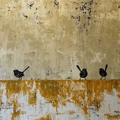 Felicia Aroney - I love this. The colours the composition, the birds. love the abstract painterly quality Gravure Illustration, Illustration Art, Illustrations, Gold Leaf Art, Bird Art, Painting Inspiration, Painting & Drawing, Art Projects, Contemporary Art