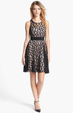Milly Lace Silk Fit & Flare Dress available at #Nordstrom