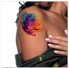 Temporäre Tattoo Regenbogen Rose Ultra dünne von UnrealInkShop