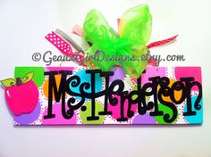 GEAUX GIRL DESIGNS Teacher sign. 5x16 Hand Painted Personalized Teacher Name Sign Door Hanger with Apple by geauxgirldesigns, $38.00