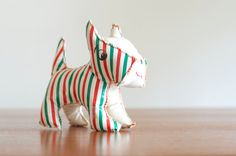 Vintage Scottie Dog Striped Vinyl Stuffed Animal  by HouseofSeance, $25.00 Remind you of anyone??