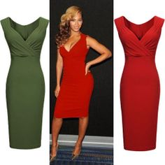 New Ladies Sexy V-Neck Wedding Cocktail Party Evening Bodycon Dresses Size 8-16