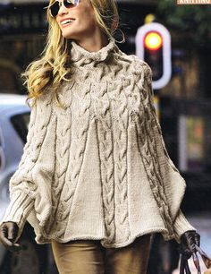 £6.20AMAZING LADY'S ARAN HIGH NECK CABLED PONCHO WITH CUFFS KNITTING PATTERN S-M M-L | eBay