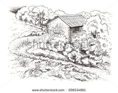 Rural landscape with old farmhouse. Hand drawing illustration