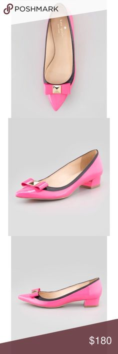 """NEW Kate Spade 'Anika' Bow Patent Pointed Flats Your mother may have loved her low heels, but the kate spade new york anika pump is of a new generation. Neon patent leather updates a classic silhouette, capped with a decidedly modern stud-trimmed bow. Patent leather with contrast matte leather. Golden pyramid stud trims front bow. Pointed toe and layered vamp. Padded insole. Leather lining and sole. 1"""" covered block heel. """"anika"""" is made in Italy. BRAND NEW. COMES WITH BOX kate spade Shoes…"""