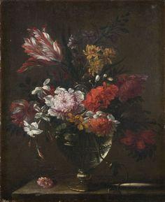 Attribué à Jean-Baptiste Monnoyer Lille, 1636 - Londres, 1699  Bouquet de fleurs sur un entablement de pierre  Huile sur toile  Dans un cadre en chêne sculpté et redoré, travail français du XVIIIe siècle  45 x 37 cm (17,55 x 14,43 in.)