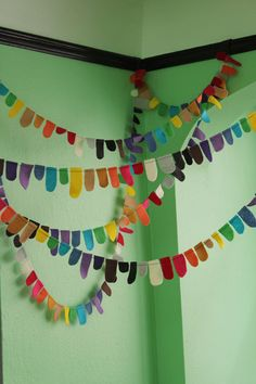 Color Tabs  felt garland in 2 yard increments by tinktonktink