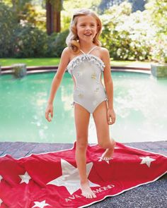 Girls Movie Star Monokini - exclusively ours - This shimmering suit is worthy of the silver screen.