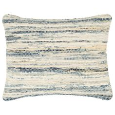 """The Fresh American denim rag pillow accents living rooms and bedrooms with eclectic panache. Boasting irresistible texture, this woven cotton cushion makes a statement in blended hues of blue, white, and pale yellow. 18""""W x 22""""H. 100% cotton. Hand wash separately in cold water. Do not bleach or machine dry. Professional cleaning recommended."""