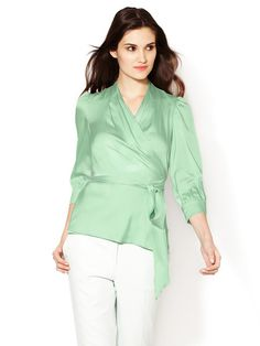 Silk Gathered Wrap Blouse by Catherine Malandrino at Gilt