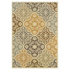 Found it at Wayfair - Highland Floral Ivory & Gray Rug