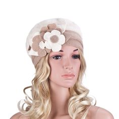 Womens Winter Angola Rabbit Fur Wool Flower Trim Beanie Cap Crochet Hat A036 (White)