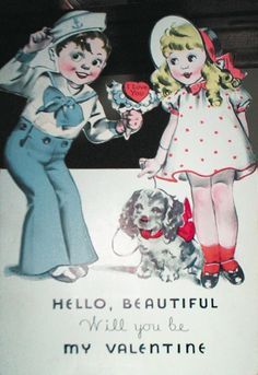Vintage 1920s Nows The Time To Be My Valentine Greetings Card B7