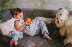 "Michael and Inessa Garmash ""Boy With Orange"" - S/N Giclee/Canvas - Retail - See Live Ukraine, Hyper Realistic Paintings, Famous Artists, Male Artists, Fine Art Gallery, Les Oeuvres, Original Paintings, Photos, Drawings"