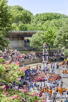 Castells (typisch katalonische Menschentürme) in Girona