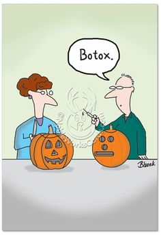 Inside: Smile ... It's Halloween (If You Can!) ---- Botox Pumpkin Funny Halloween Card By Dave Blazek from Nobleworks. Botox pumpkins? Designer jack 'o lanterns? That's not only ridiculous, but good, clean, smooth humor, as well. Like as colorfully pumpkin-pictured on this Funny Halloween Card. Give someone a real smile on All Hallows' Eve by sending them this straight-faced...  Read more…