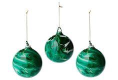 "S/3 4"" Marbelized Ornaments, Malachite | One Kings Lane"