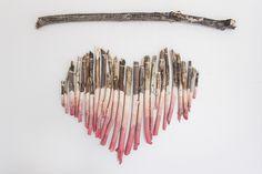 DIY Ombre Branch Heart Art