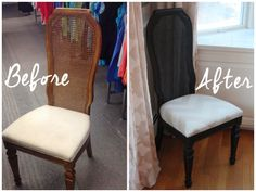 Cane back dining chairs found at the Salvation Army thrift store, refreshed with paint and fabric.