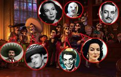 Almost right, Pedro Infante is behind/between Cantinflas and Maria Felix
