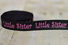 Little Sister Elastic - Black Little Sister Fold Over Elastic - Little Sister FOE - Sister Set Elastic Headbands on Etsy, $4.50
