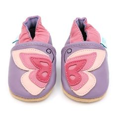 b487d025a0c Butterfly Flutterby - Pink   Purple Soft Leather Baby Shoes by Dotty Fish