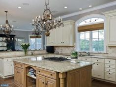 Modern custom built dream kitchen with chandeliers in Lambertville, NJ
