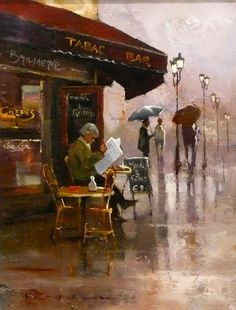 Peter Fennell (Australian 1949)  A cup of coffee and the paper, and the rain of course, how cozy!