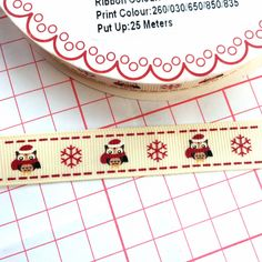 Owl and Snow Flake Gross Grain Ribbon £0.80